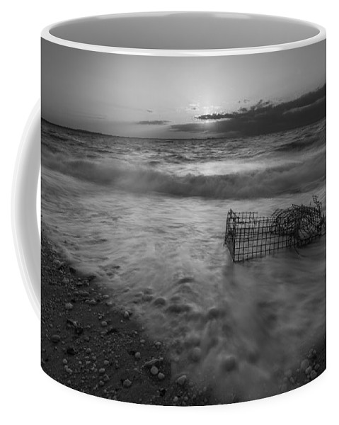 Sandy Hook Coffee Mug featuring the photograph Washed Up Crab Cage 16x9 Bw by Michael Ver Sprill