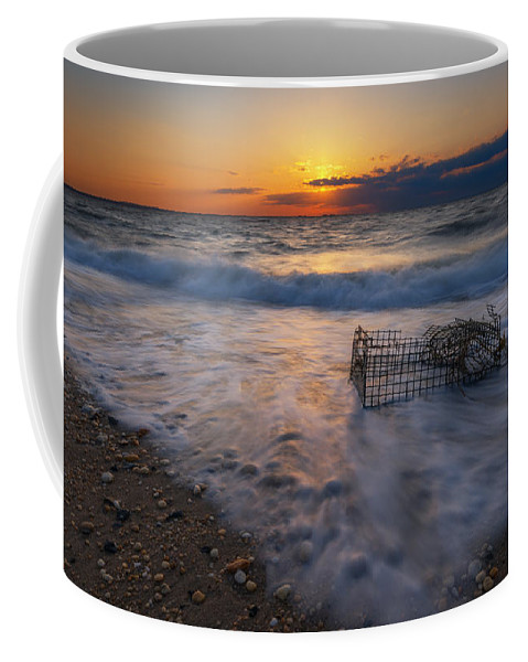 Sandy Hook Coffee Mug featuring the photograph Washed Up Crab Cage 16x9 by Michael Ver Sprill