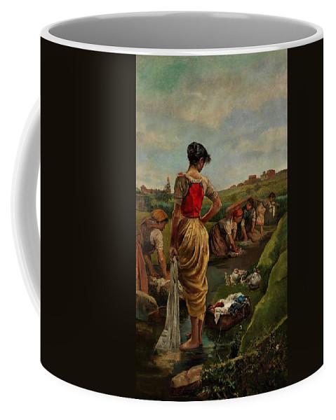 Girl Coffee Mug featuring the painting Washerwomen In Candas Asturias Amoros Botella, Antonio by Amoros Botella Antonio