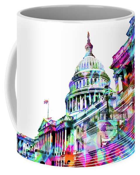 Capitol Coffee Mug featuring the painting Washington Capitol Color 1 by Tony Rubino