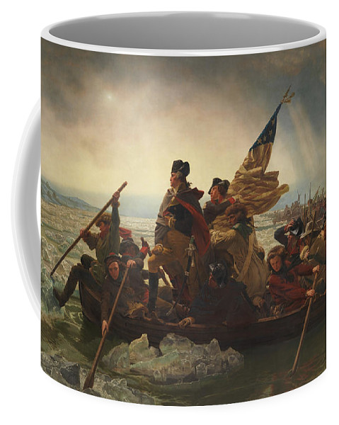George Washington Coffee Mug featuring the painting Washington Crossing The Delaware by War Is Hell Store