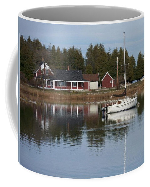Washington Island Coffee Mug featuring the photograph Washington Island Harbor 4 by Anita Burgermeister