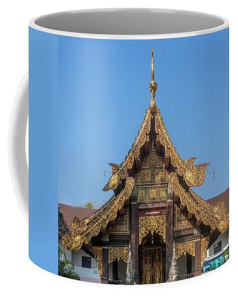 Scenic Coffee Mug featuring the photograph Wat Jed Yod Gable Of The Vihara Of The 700 Years Image Dthcm0963 by Gerry Gantt