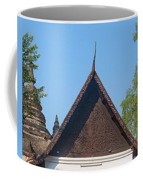 Scenic Coffee Mug featuring the photograph Wat Jed Yod Phra Ubosot Teakwood Gable Dthcm0968 by Gerry Gantt