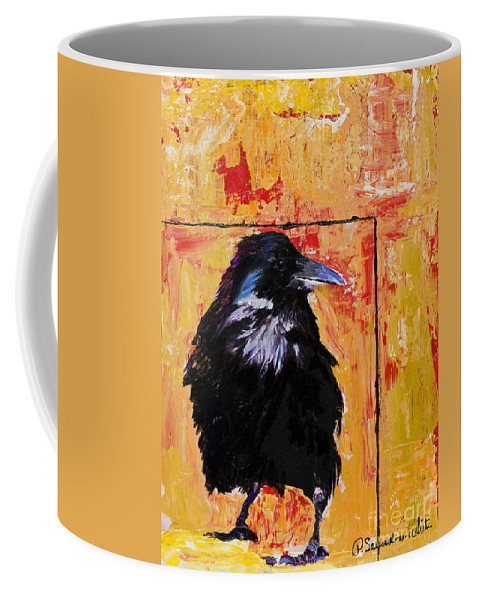 Large Decorative Fine Art Prints Coffee Mug featuring the painting Watch and Learn by Pat Saunders-White