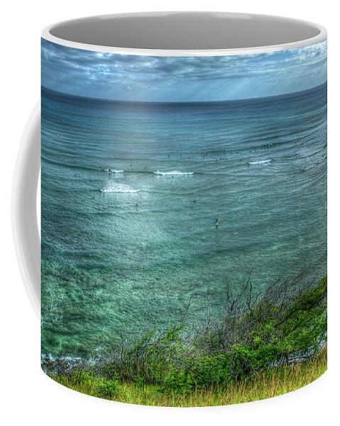 Reid Callaway Watching From Afar Coffee Mug featuring the photograph Watching From Afar Kuilei Cliffs Beach Park Surfing Hawaii Collection Art by Reid Callaway