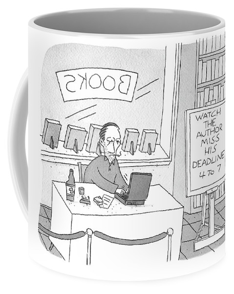 """watch The Author Miss His Deadline 4 To 7"" Coffee Mug featuring the drawing Watch The Author Miss His Deadline by Peter C Vey"