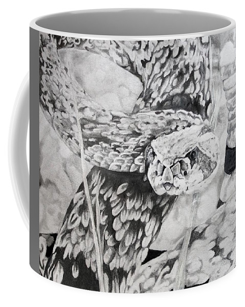Rattlesnake Coffee Mug featuring the drawing Watch Your Step by Ryan Seevers