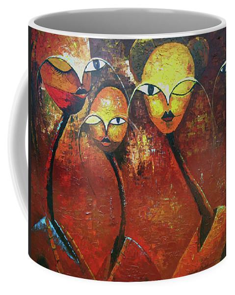 Figure Coffee Mug featuring the painting Watchers by Lawani Sunday