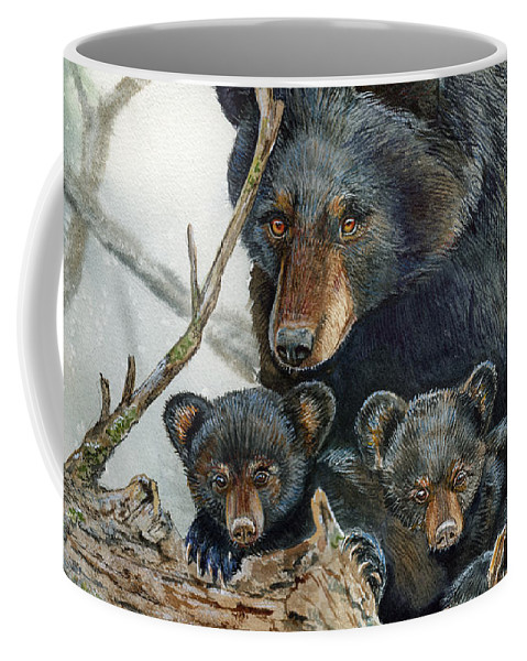 Black Bear Coffee Mug featuring the painting Watchful by Cheryl Johnson