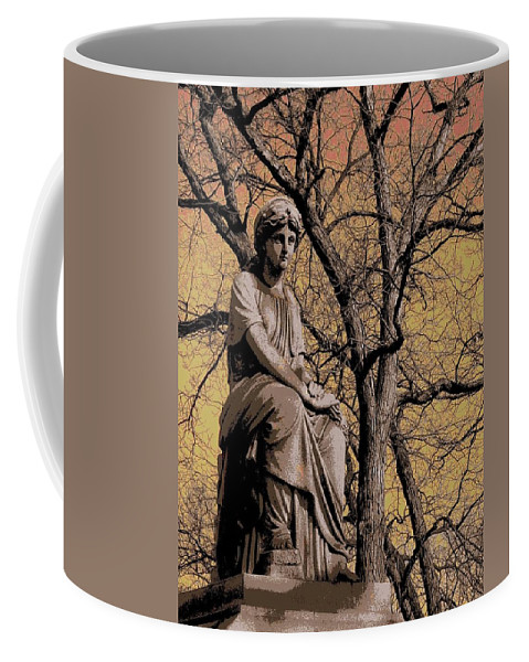 Statue Coffee Mug featuring the digital art Watching Over by Anita Burgermeister