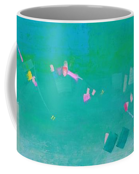 Abstract Coffee Mug featuring the painting Watching The Children Play by Gayle Levee