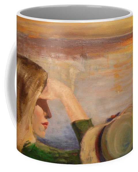 Side View Of A Girl Coffee Mug featuring the painting Watching The Sails by Irena Jablonski