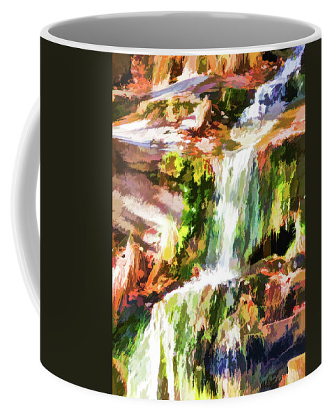 Alone Coffee Mug featuring the painting Water Cascading by Jeelan Clark