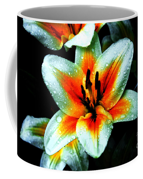 Lily Coffee Mug featuring the photograph Water Droplet Covered White Lily by Andee Design