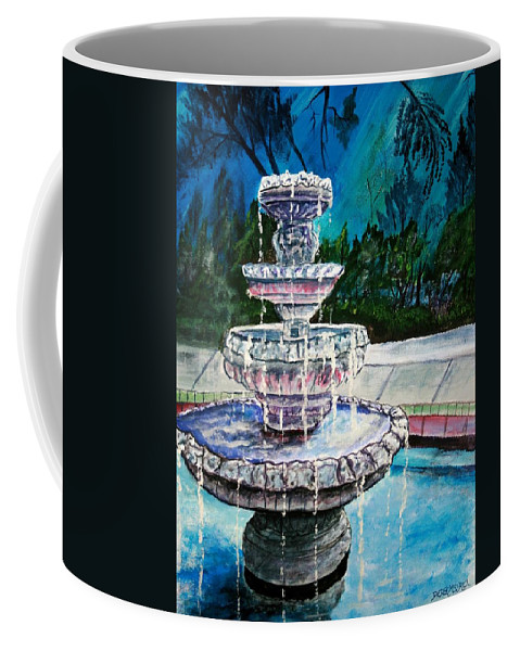 Acrylic Coffee Mug featuring the painting Water Fountain Acrylic Painting Art Print by Derek Mccrea