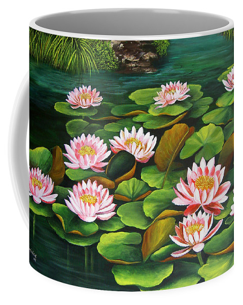 Floral Coffee Mug featuring the painting Water Lilies by Dominica Alcantara