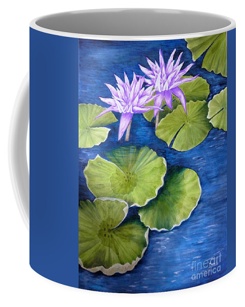 Water Lilies Coffee Mug featuring the painting Water Lilies by Mary Deal