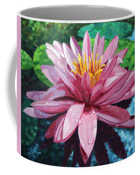 Landscape Coffee Mug featuring the painting Water Lily by John Wallie