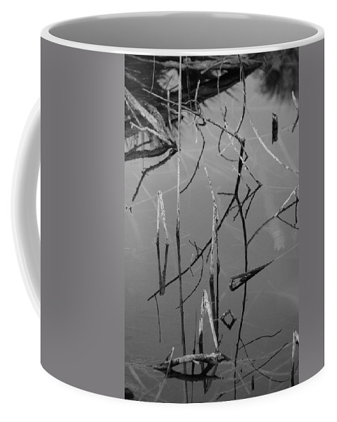 Black And White Coffee Mug featuring the photograph Water Sticks by Rob Hans