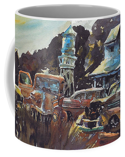 Old Cars Coffee Mug featuring the painting Water Tower Wardens by Ron Morrison