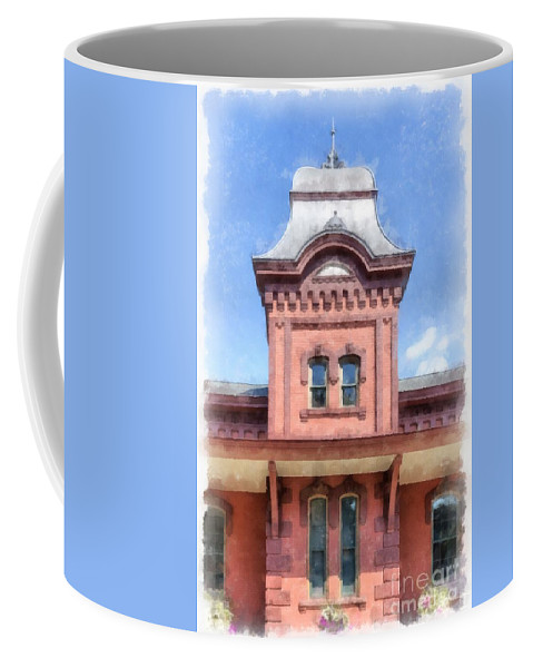 Watercolor Coffee Mug featuring the painting Waterbury Vermont Train Station by Edward Fielding