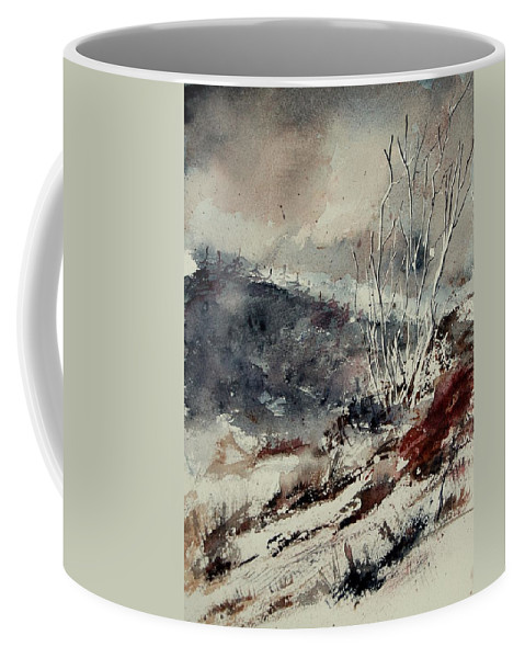 Snow Coffee Mug featuring the print Watercolor 446 by Pol Ledent