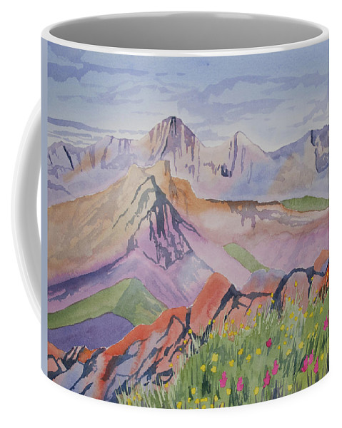 Blanca Peak Coffee Mug featuring the painting Watercolor - Blanca And Ellingwood Landscape by Cascade Colors