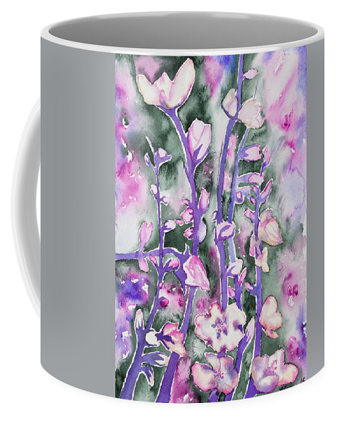 Cherry Coffee Mug featuring the painting Watercolor - Cherry Blossoms by Cascade Colors