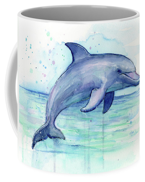 Dolphin Coffee Mug featuring the painting Watercolor Dolphin Painting - Facing Right by Olga Shvartsur