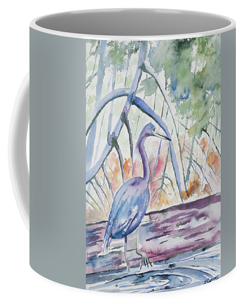 Little Blue Heron Coffee Mug featuring the painting Watercolor - Little Blue Heron In Mangrove Forest by Cascade Colors