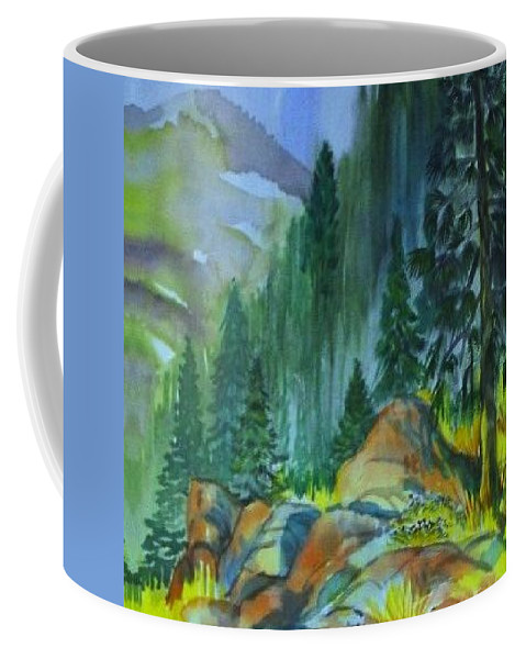 Watercolor Of Forest In Mountains Coffee Mug featuring the painting Watercolor of Mountain Forest by Annie Gibbons