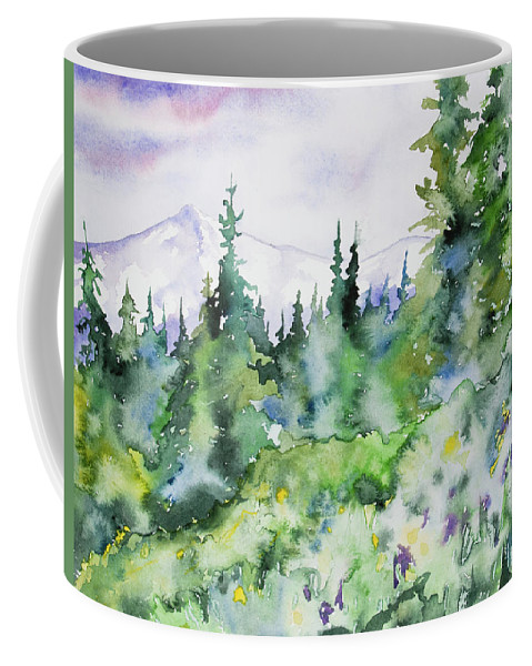 Rockies Coffee Mug featuring the painting Watercolor - Summer In The Rockies by Cascade Colors