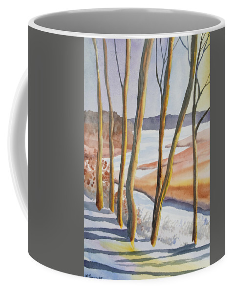 Sunrise Coffee Mug featuring the painting Watercolor - Winter Sunrise by Cascade Colors