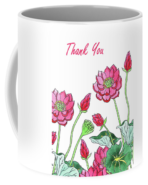 Mug You Lotus Watercolour Card Coffee Thank Flower Ye2DIWEH9
