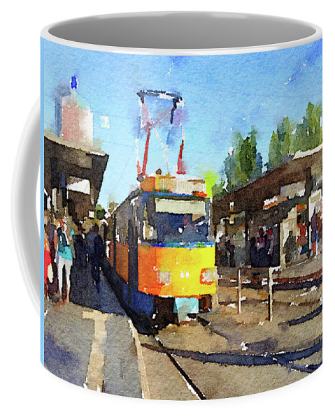 Tram Coffee Mug featuring the photograph Watercolour Painting Of A Tram In Germany by Anita Van Den Broek