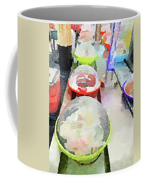 Sushi Coffee Mug featuring the photograph Watercolour Painting Of Sushi Dishes On The Belt by Anita Van Den Broek