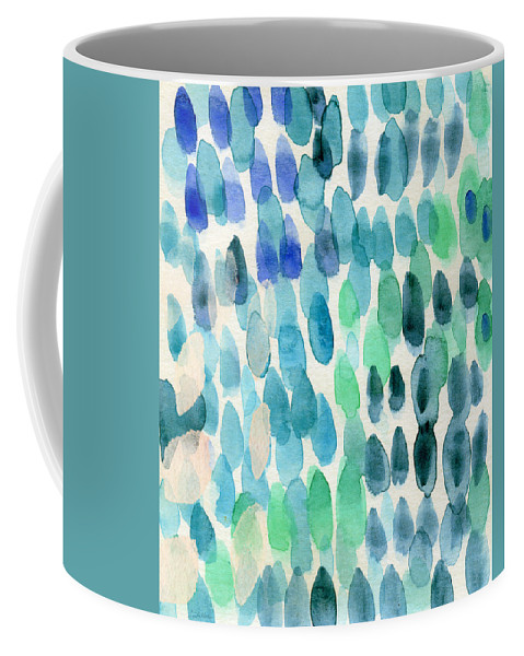 Water Coffee Mug featuring the painting Waterfall 2- Abstract Art by Linda Woods by Linda Woods