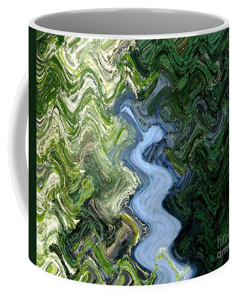 Waterfall Coffee Mug featuring the digital art Waterfall Abstract by Sharon Talson
