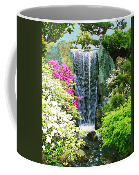 Waterfall Print On Canvas Coffee Mug featuring the painting Waterfall In Spring by Susanna Katherine