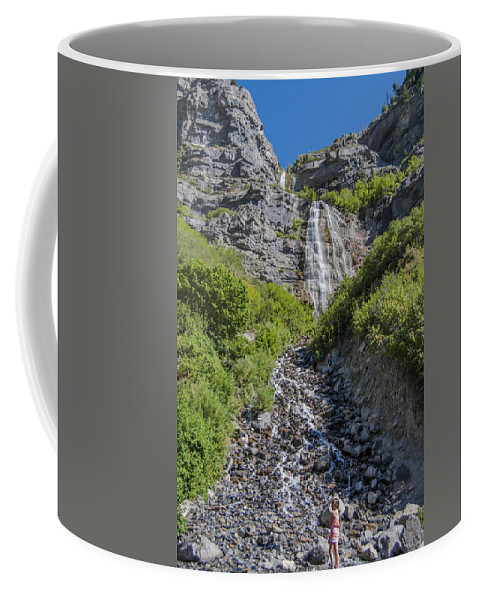 Waterfall Coffee Mug featuring the photograph Waterfall Love by Andrea Stapleton