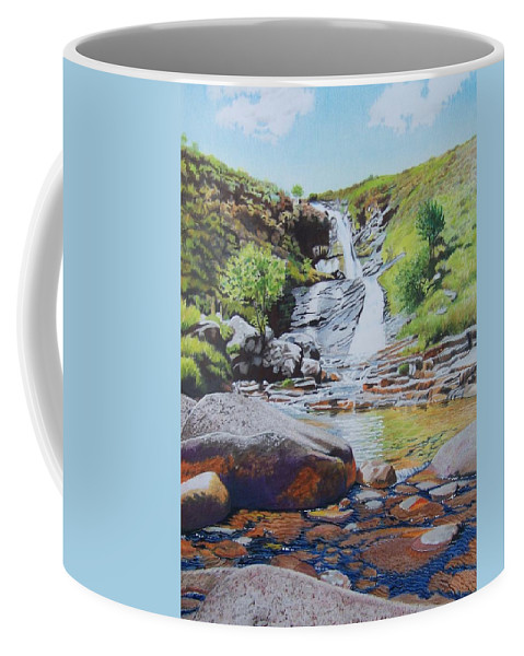 Waterfall Coffee Mug featuring the mixed media Waterfall On Skye 2 by Constance Drescher
