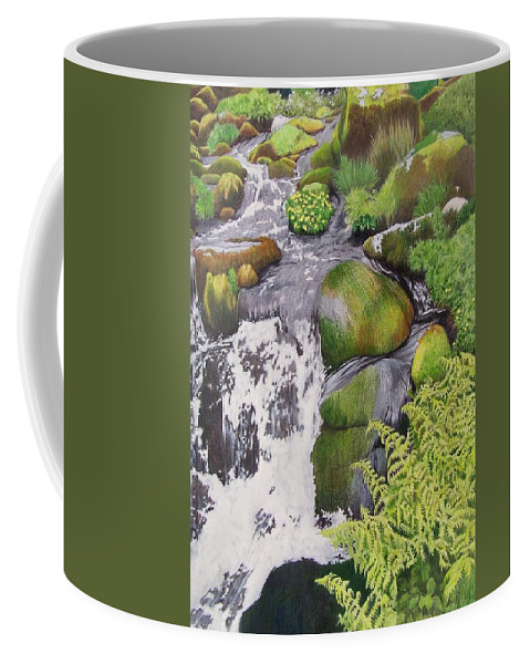 Waterfall Coffee Mug featuring the mixed media Waterfall On Skye by Constance Drescher