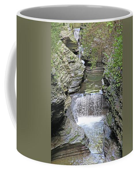 Waterfall Rocks Foliage Pond Coffee Mug featuring the photograph Waterfall Rocks Foliage Pond 2 9132017 by David Frederick