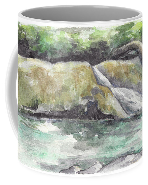 Waterfall Coffee Mug featuring the painting Waterfall by Yana Sadykova