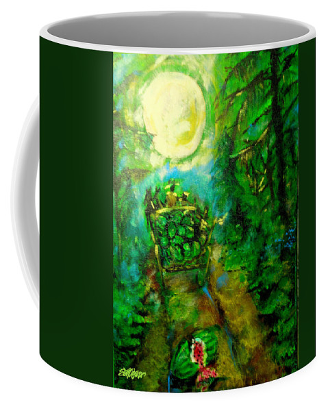 Watermelon Wagon Moon Coffee Mug featuring the painting Watermelon Wagon Moon by Seth Weaver