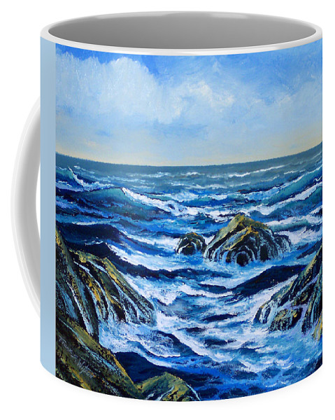 Ocean Coffee Mug featuring the painting Waves And Foam by Frank Wilson
