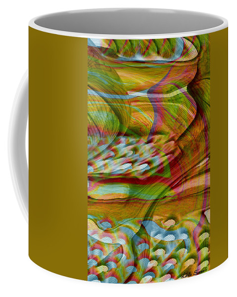 Abstracts Coffee Mug featuring the digital art Waves And Patterns by Linda Sannuti