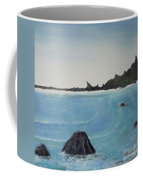 Waves Coffee Mug featuring the painting Waves And Pines by Monika Shepherdson