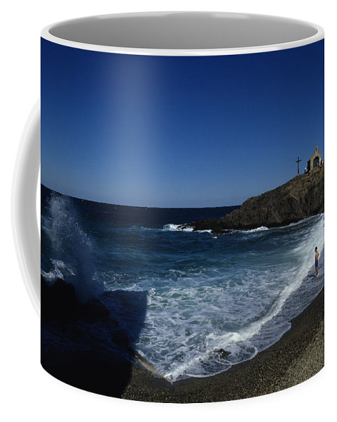 Collioure Coffee Mug featuring the photograph Waves Crash Onto The Beach by Stacy Gold